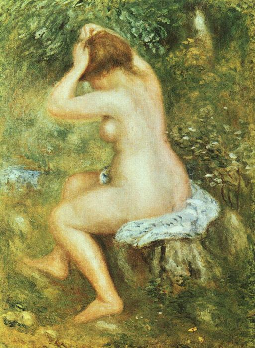 Pierre Renoir Baigneuse se Coiffant France oil painting art