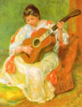 Pierre Renoir Woman with Guitar France oil painting art