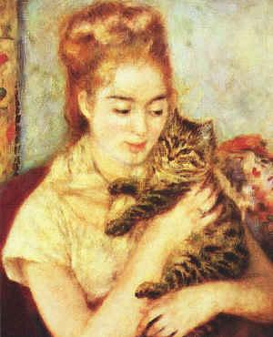 Pierre Renoir Woman with a Cat France oil painting art