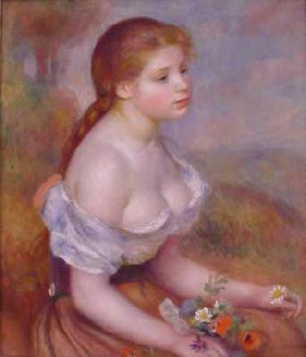 Pierre Renoir Young Girl With Daisies France oil painting art