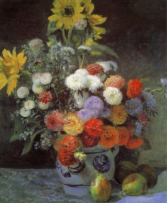 Pierre Renoir Mixed Flowers in an Earthenware Pot France oil painting art