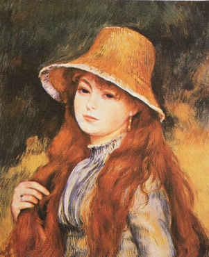 Pierre Renoir Girl and Golden Hat France oil painting art