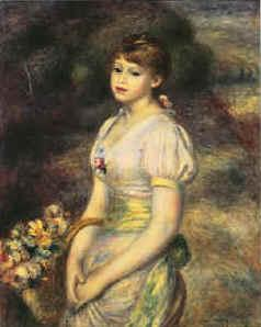 Pierre Renoir Young Girl with Flowers France oil painting art