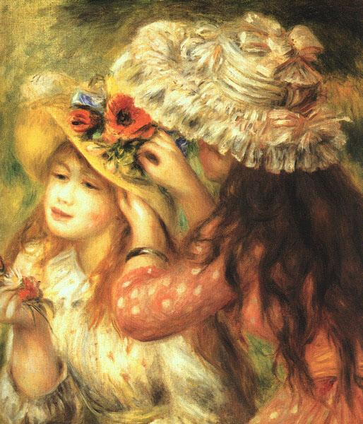 Pierre Renoir Girls Putting Flowers in their Hats France oil painting art