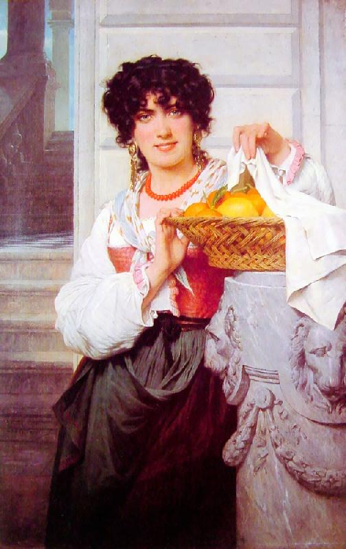 Pierre-Auguste Cot Pisan Girl with Basket of Oranges and Lemons oil painting image