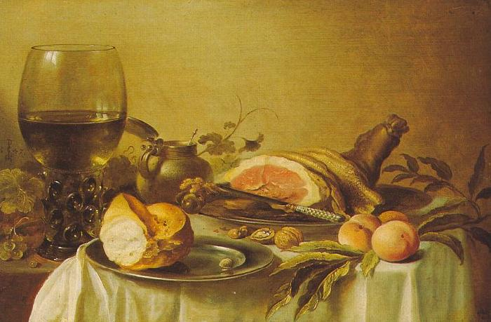 Pieter Claesz Breakfast with Ham oil painting image