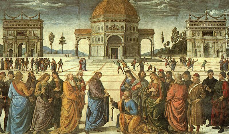 Pietro Perugino Christ Delivering the Keys to St.Peter oil painting image