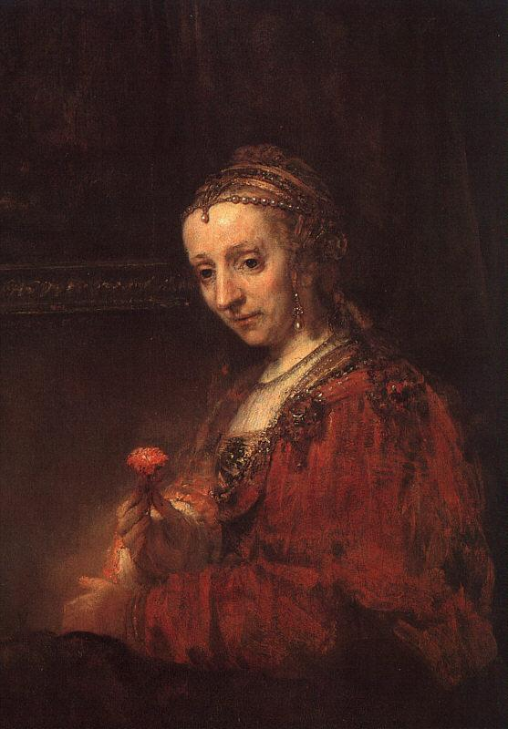 Rembrandt Lady with a Pink France oil painting art