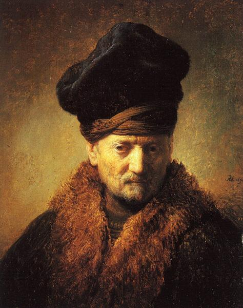 Rembrandt Bust of an Old Man in a Fur Cap France oil painting art