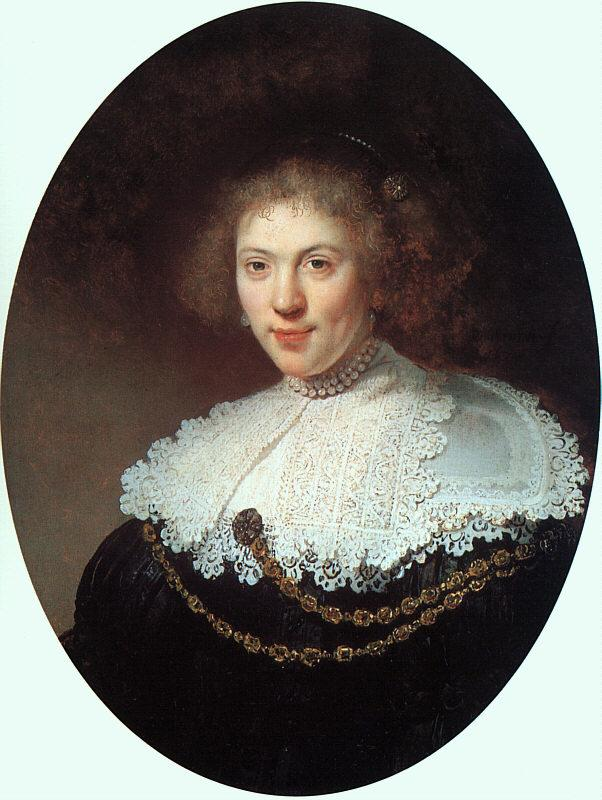 Rembrandt Woman Wearing a Gold Chain France oil painting art
