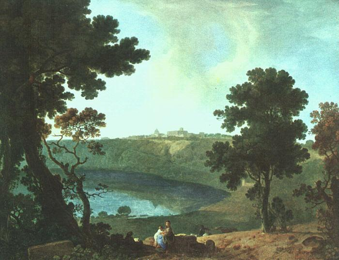 Richard  Wilson Lake Albano and Castel Gandolfo oil painting image