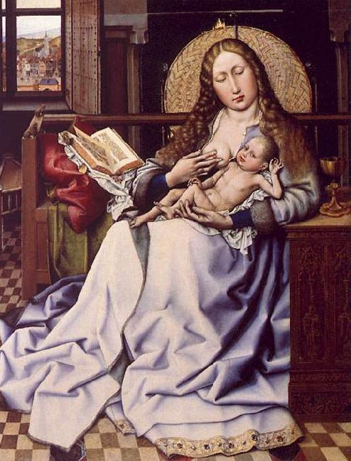 Robert Campin The Virgin and the Child Before a Fire Screen oil painting image