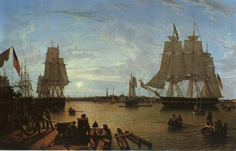 Robert Salmon Boston Harbor as seen from Constitution Wharf France oil painting art