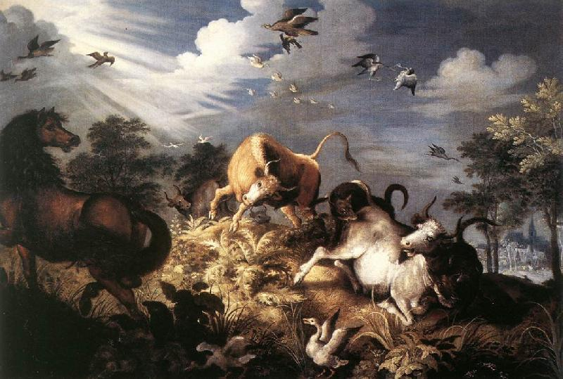 Roelant Savery Horses and Oxen Attacked by Wolves oil painting image