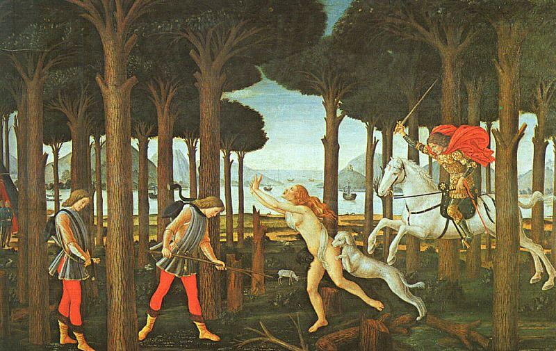 Sandro Botticelli Panel II of The Story of Nastagio degli Onesti oil painting image