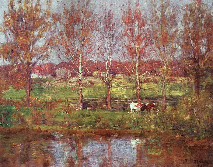 Theodore Clement Steele Cows by the Stream France oil painting art
