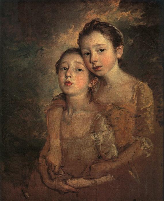 Thomas The Painter's Daughters with a Cat oil painting image