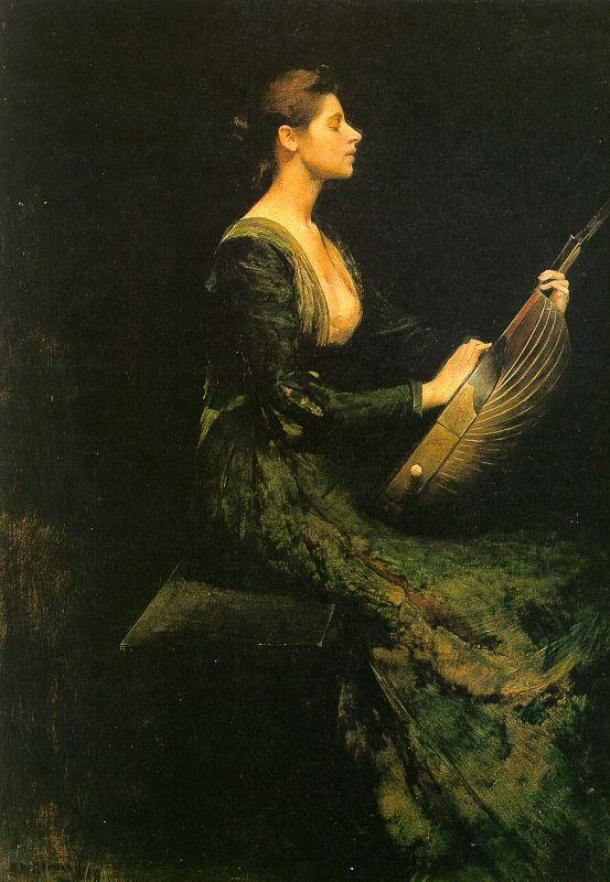 Thomas Wilmer Dewing Lady with a Lute France oil painting art
