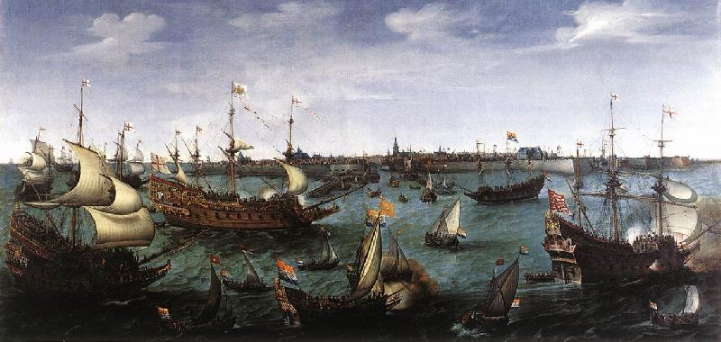 VROOM, Hendrick Cornelisz. The Arrival at Vlissingen of the Elector Palatinate Frederick V wr oil painting image