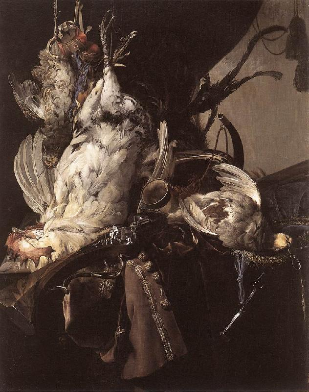 Willem van Still-Life of Dead Birds and Hunting Weapons France oil painting art