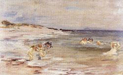 William mctaggart Bathing Girls,White Bay Cantire(Scotland) oil painting image