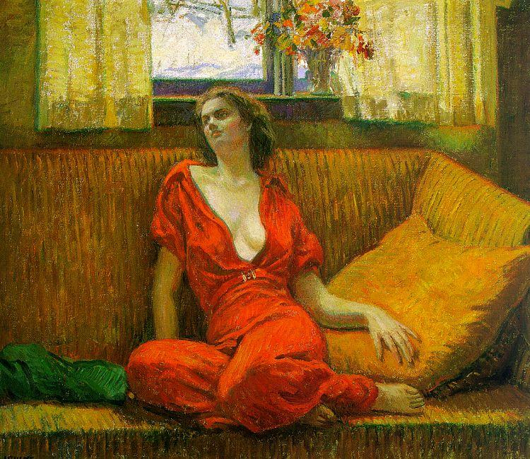Wilson Irvine Lady in Red France oil painting art
