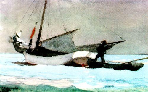 Winslow Homer Stowing the Sail, Bahamas France oil painting art