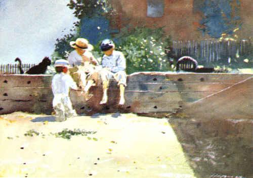 Winslow Homer Boys Kitten France oil painting art
