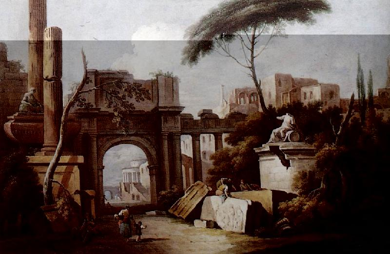 ZAIS, Giuseppe Ancient Ruins with a Great Arch and a Column fgu oil painting image