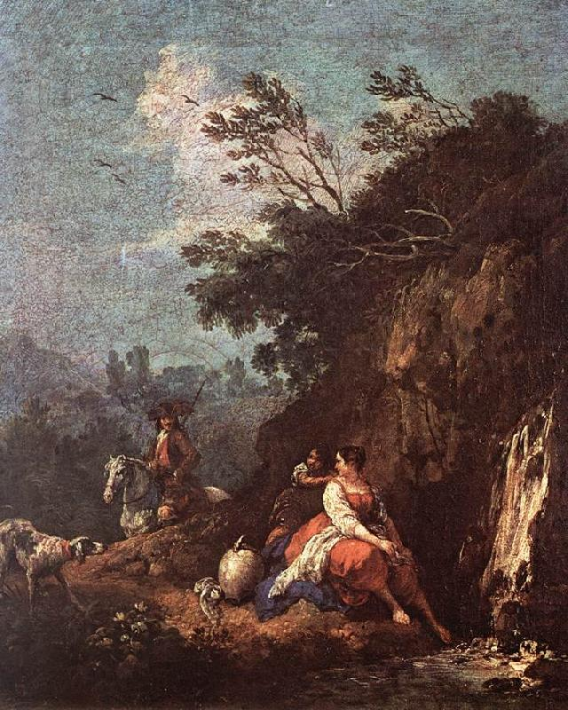 ZUCCARELLI  Francesco Landscape with a Rider oil painting image