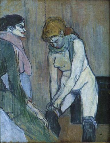 Henri  Toulouse-Lautrec Woman Pulling Up Her Stocking oil painting image