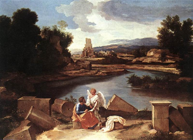 POUSSIN, Nicolas Landscape with St Matthew and the Angel sg oil painting image