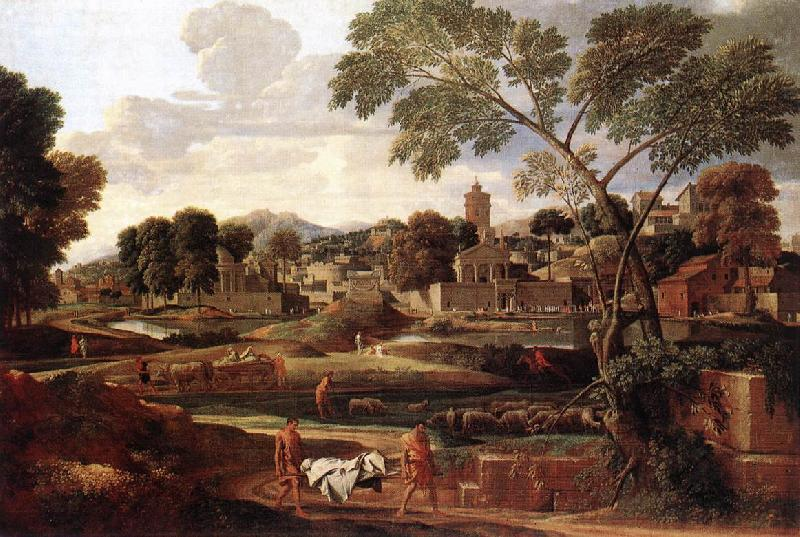 POUSSIN, Nicolas Landscape with the Funeral of Phocion af oil painting image