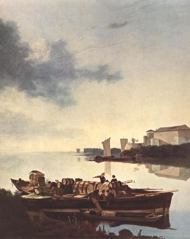 PYNACKER, Adam Barges on a River ag oil painting image