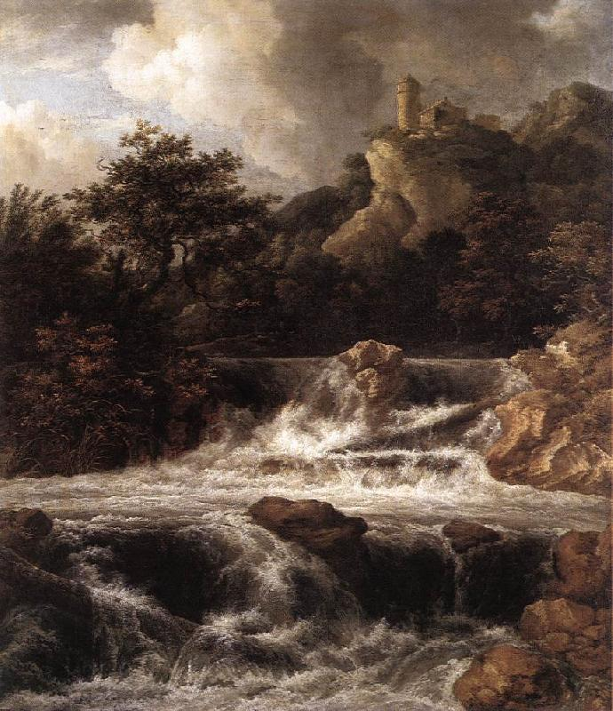 RUISDAEL, Jacob Isaackszon van Waterfall with Castle Built on the Rock af oil painting image