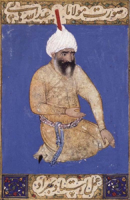 Bihzad Portrait of the poet Hatifi,Jami s nephew,seen here wearing a shi ite turban oil painting image