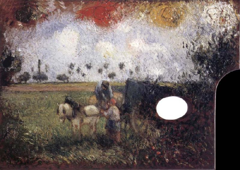 La palette d~artistes avec un paysage Camille Pissarro
