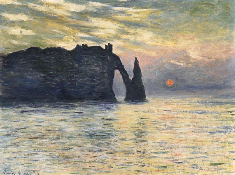 Claude Monet Etretat,Sunset oil painting picture