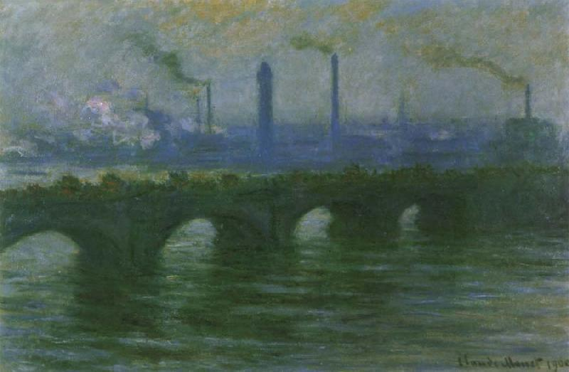 Claude Monet Waterloo Bridge,Overcast Weather oil painting picture
