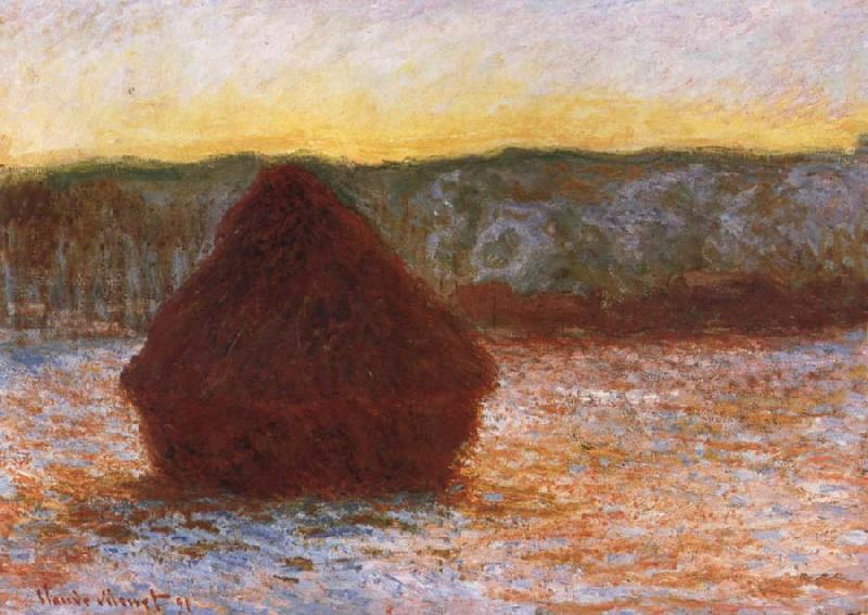 Claude Monet Grainstack,Thaw,Sunset oil painting picture