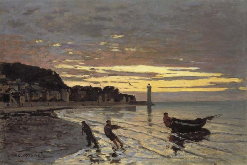 Claude Monet Towing of a Boat at Honfleur oil painting picture