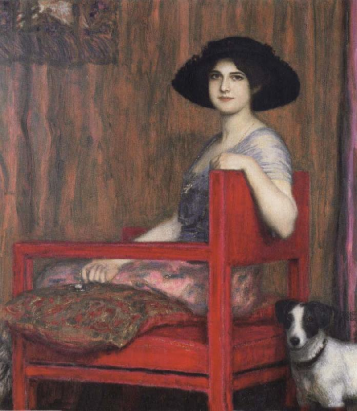 Fernand Khnopff Mary von Stuck in a Red Armchair oil painting picture