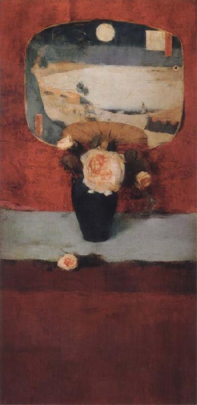 Fernand Khnopff Roses and a Japanese Fan oil painting picture