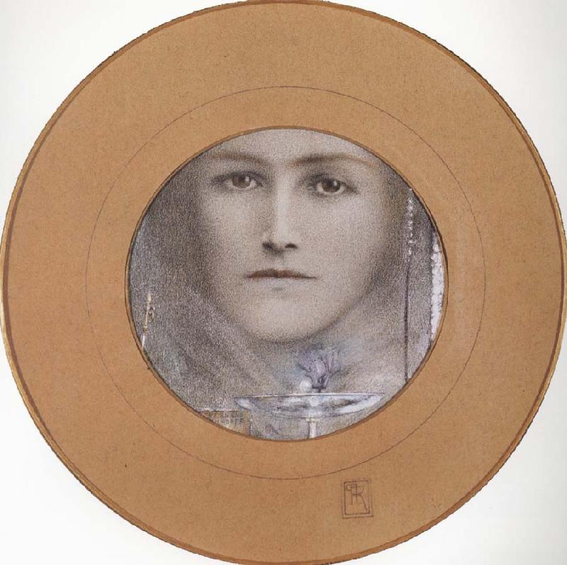 Fernand Khnopff Brown eyes and a Blue Flower oil painting picture