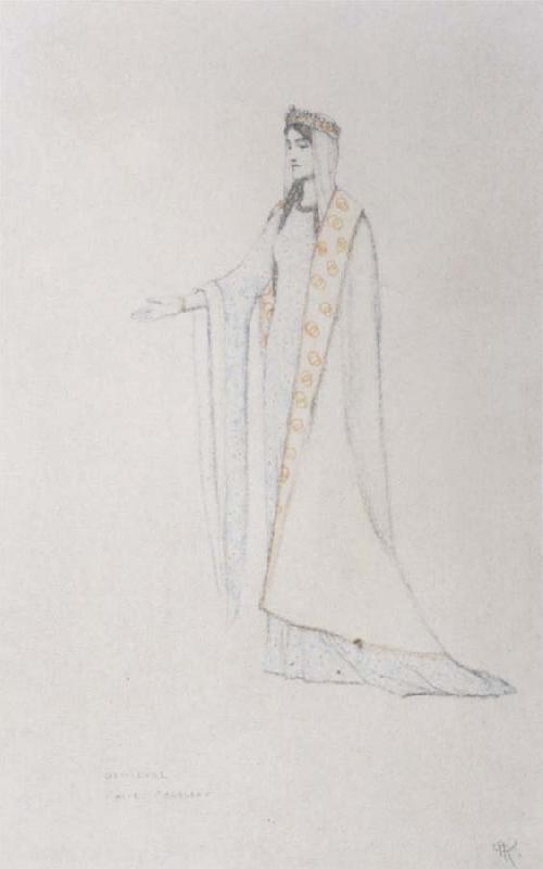 Fernand Khnopff Costume Drawing For Le Roi Arthus Genievre oil painting picture