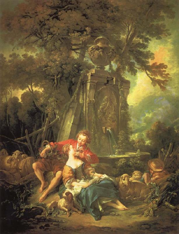 Francois Boucher An autumn Pastoral oil painting picture