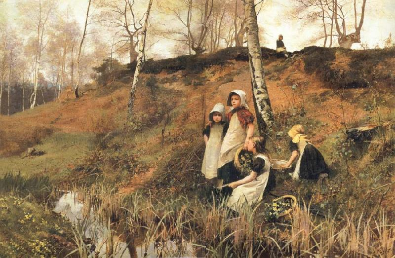 Hector Caffieri The Primrose Gatherers oil painting picture