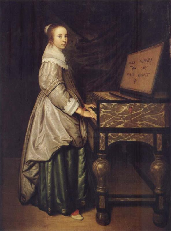 Hendrick Martensz Sorgh Girl at a virginal oil painting picture