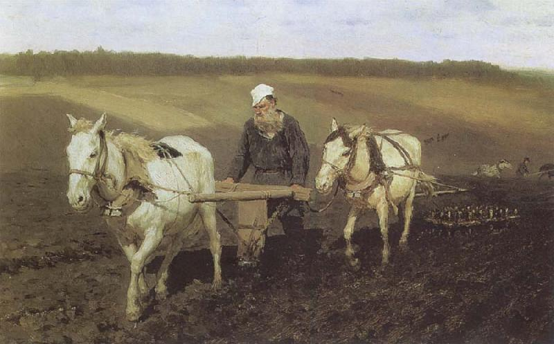 Ilya Repin A Ploughman,Leo Tolstoy Ploughing oil painting image