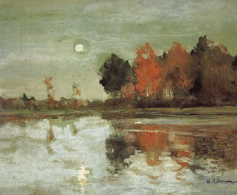 Isaac Ilich Levitan Twilight Moon-study oil painting picture